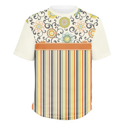 Swirls, Floral & Stripes Men's Crew T-Shirt (Personalized)