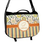 Swirls, Floral & Stripes Messenger Bag (Personalized)