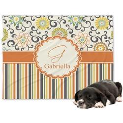 Swirls, Floral & Stripes Minky Dog Blanket - Large  (Personalized)