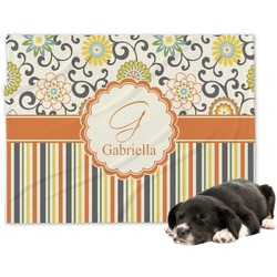 Swirls, Floral & Stripes Minky Dog Blanket (Personalized)