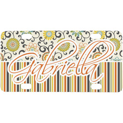 Swirls, Floral & Stripes Mini / Bicycle License Plate (Personalized)