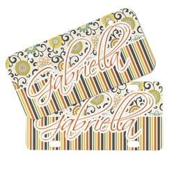 Swirls, Floral & Stripes Mini/Bicycle License Plates (Personalized)