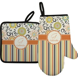 Swirls, Floral & Stripes Oven Mitt & Pot Holder (Personalized)