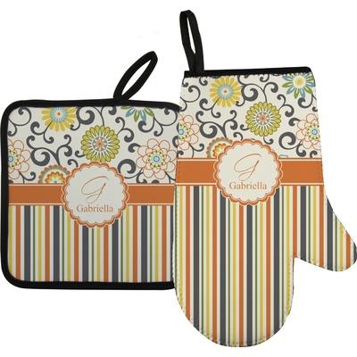 Swirls, Floral & Stripes Oven Mitt & Pot Holder (Personalized)