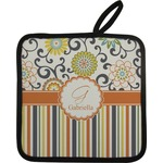 Swirls, Floral & Stripes Pot Holder (Personalized)