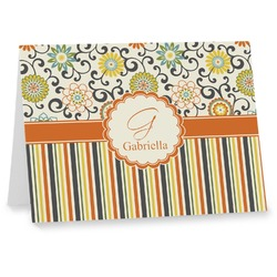 Swirls, Floral & Stripes Notecards (Personalized)