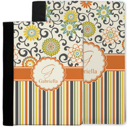 Swirls, Floral & Stripes Notebook Padfolio w/ Name and Initial
