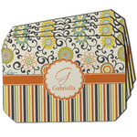 Swirls, Floral & Stripes Dining Table Mat - Octagon w/ Name and Initial