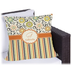 """Swirls, Floral & Stripes Outdoor Pillow - 18"""" (Personalized)"""