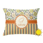 Swirls, Floral & Stripes Outdoor Throw Pillow (Rectangular) (Personalized)