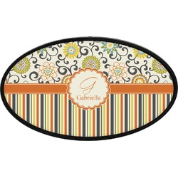 Swirls, Floral & Stripes Oval Trailer Hitch Cover (Personalized)