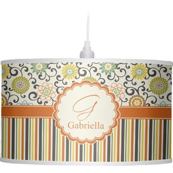 Swirls, Floral & Stripes Drum Pendant Lamp Linen (Personalized)