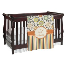 Swirls, Floral & Stripes Baby Blanket (Personalized)
