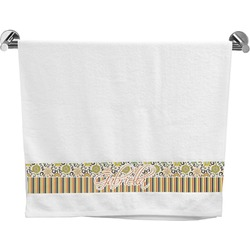 Swirls, Floral & Stripes Bath Towel (Personalized)
