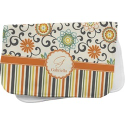 Swirls, Floral & Stripes Burp Cloth (Personalized)