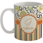 Swirls, Floral & Stripes Coffee Mug (Personalized)
