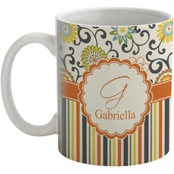 Swirls, Floral & Stripes Coffee Mug (Personalized)