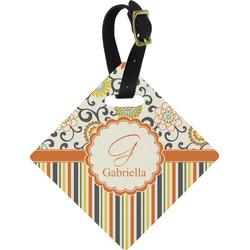 Swirls, Floral & Stripes Diamond Luggage Tag (Personalized)