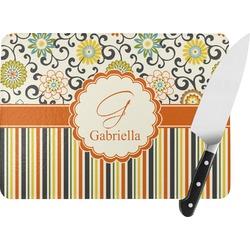 Swirls, Floral & Stripes Rectangular Glass Cutting Board (Personalized)