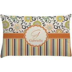 Swirls, Floral & Stripes Pillow Case (Personalized)