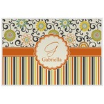 Swirls, Floral & Stripes Laminated Placemat w/ Name and Initial