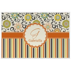 Swirls, Floral & Stripes Placemat (Laminated) (Personalized)