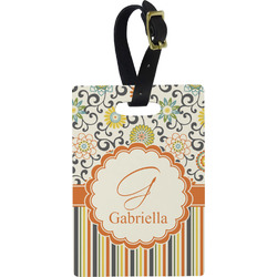 Swirls, Floral & Stripes Rectangular Luggage Tag (Personalized)