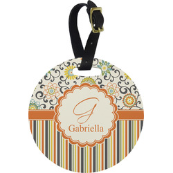 Swirls, Floral & Stripes Round Luggage Tag (Personalized)