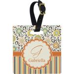Swirls, Floral & Stripes Luggage Tags (Personalized)