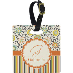 Swirls, Floral & Stripes Square Luggage Tag (Personalized)