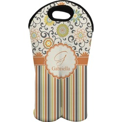 Swirls, Floral & Stripes Wine Tote Bag (2 Bottles) (Personalized)