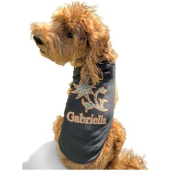 Swirls, Floral & Stripes Black Pet Shirt - XL (Personalized)