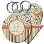 Swirls, Floral & Stripes Plastic Keychains (Personalized)