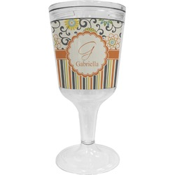 Swirls, Floral & Stripes Wine Tumbler - 11 oz Plastic (Personalized)