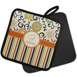 Swirls, Floral & Stripes Pot Holder w/ Name and Initial