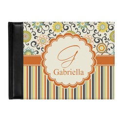 Swirls, Floral & Stripes Genuine Leather Guest Book (Personalized)