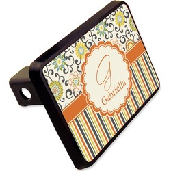 """Swirls, Floral & Stripes Rectangular Trailer Hitch Cover - 2"""" (Personalized)"""