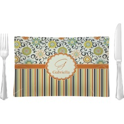 Swirls, Floral & Stripes Glass Rectangular Lunch / Dinner Plate - Single or Set (Personalized)