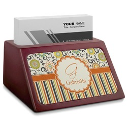 Swirls, Floral & Stripes Red Mahogany Business Card Holder (Personalized)