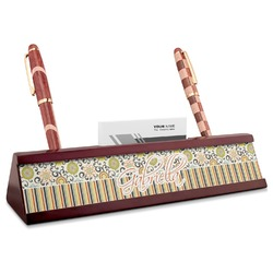 Swirls, Floral & Stripes Red Mahogany Nameplate with Business Card Holder (Personalized)