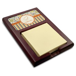 Swirls, Floral & Stripes Red Mahogany Sticky Note Holder (Personalized)