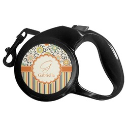Swirls, Floral & Stripes Retractable Dog Leash (Personalized)
