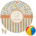 Swirls, Floral & Stripes Round Beach Towel (Personalized)