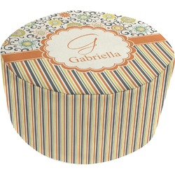 Swirls, Floral & Stripes Round Pouf Ottoman (Personalized)