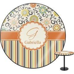 Swirls, Floral & Stripes Round Table Top (Personalized)