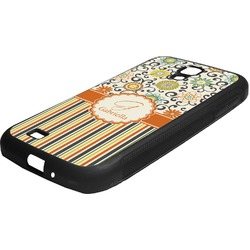 Swirls, Floral & Stripes Rubber Samsung Galaxy 4 Phone Case (Personalized)