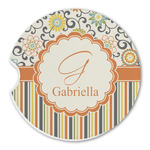 Swirls, Floral & Stripes Sandstone Car Coasters (Personalized)