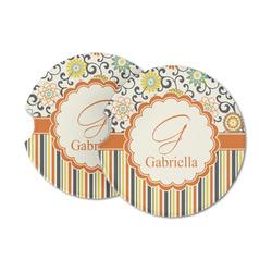 Swirls, Floral & Stripes Sandstone Car Coasters (Personalized)