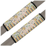 Swirls, Floral & Stripes Seat Belt Covers (Set of 2) (Personalized)