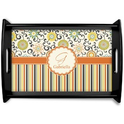 Swirls, Floral & Stripes Black Wooden Tray (Personalized)